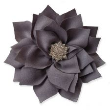 8cm Diamante Dahlia GREY Fabric Flower Applique
